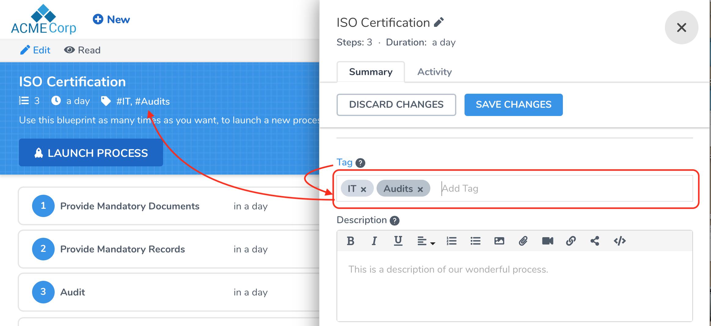 How do blueprint and process tags work? - Tallyfy Help