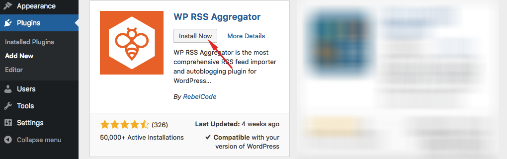 Downloading & Installing the Free Core Plugin - WP RSS Aggregator
