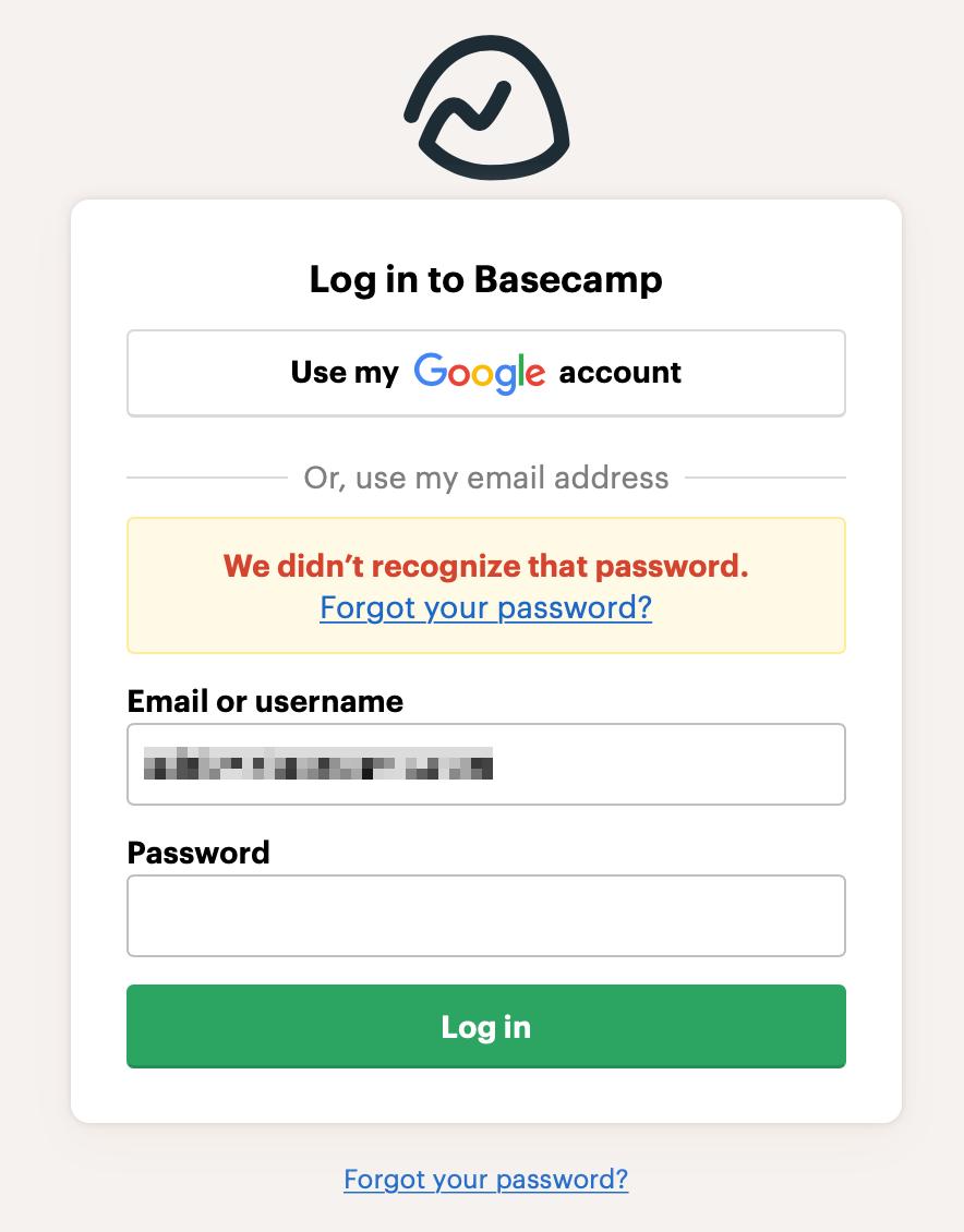 Logging In Basecamp 3 Help