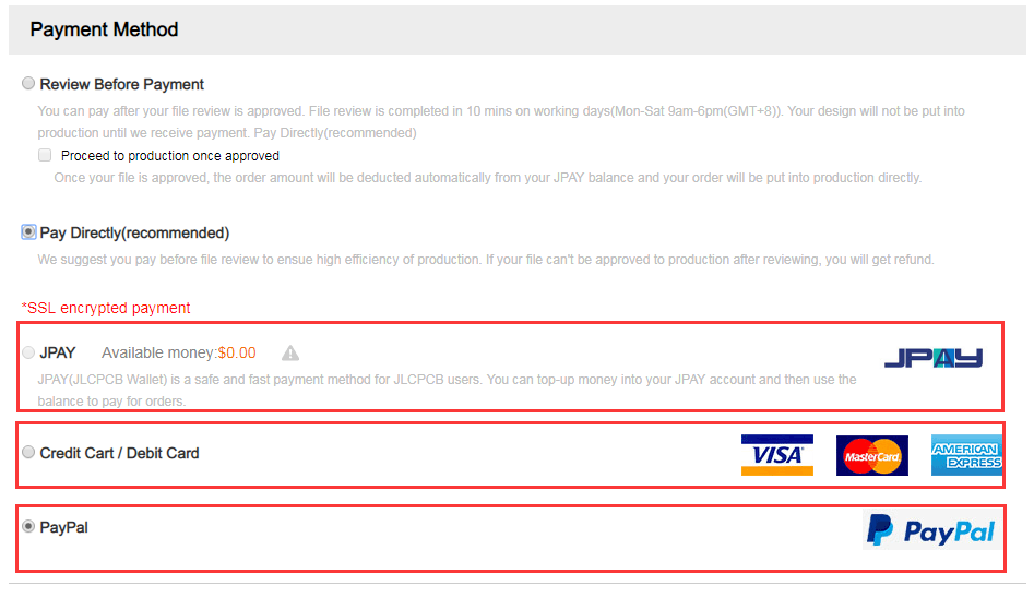 What payment methods are available? - JLCPCB: Help & Support