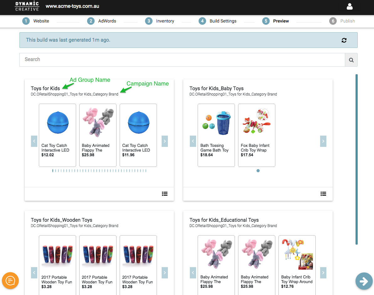 Step 5  Preview (Shopping) - Dynamic Creative Knowledge Base