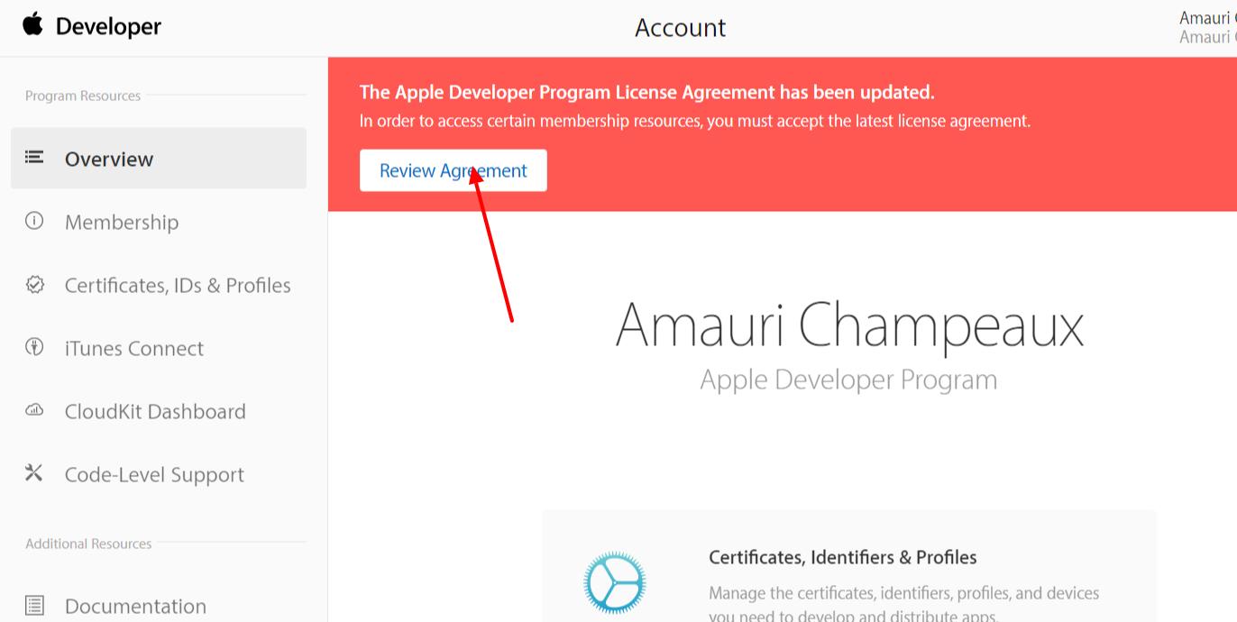 The 'Apple Developer Program License Agreement' has been