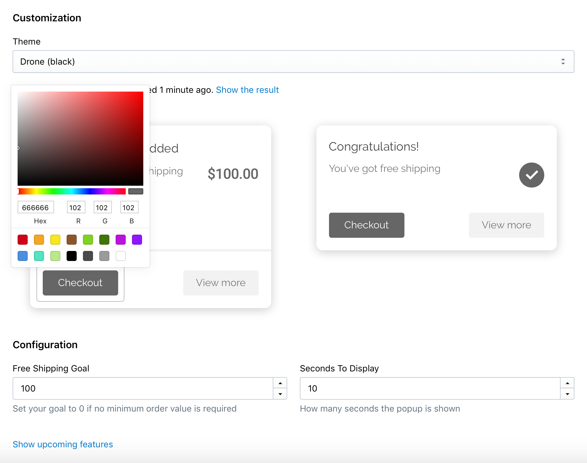 Change a color of the checkout button on your first popup screen