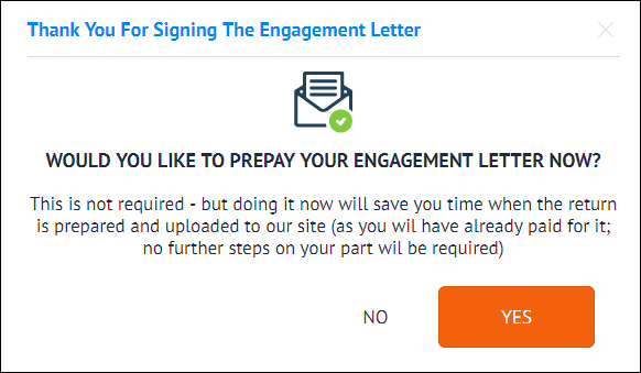Prepaying The Services Listed In An Engagement Letter - TFX User Guide