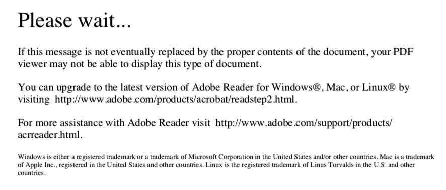 I can't seem to open a PDF file you prepared  Please help