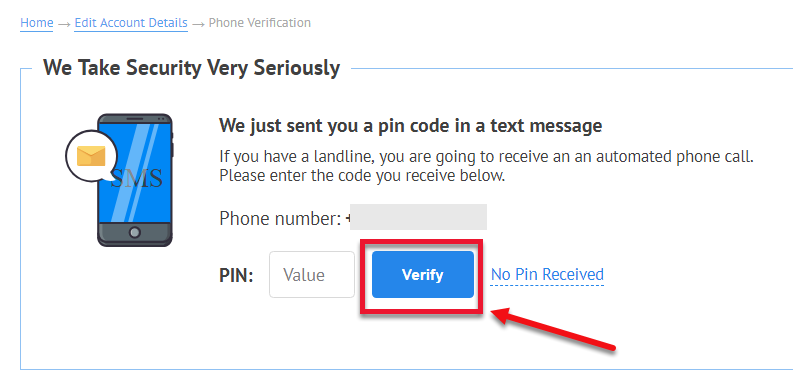 Verifying Your Phone Number - TFX User Guide