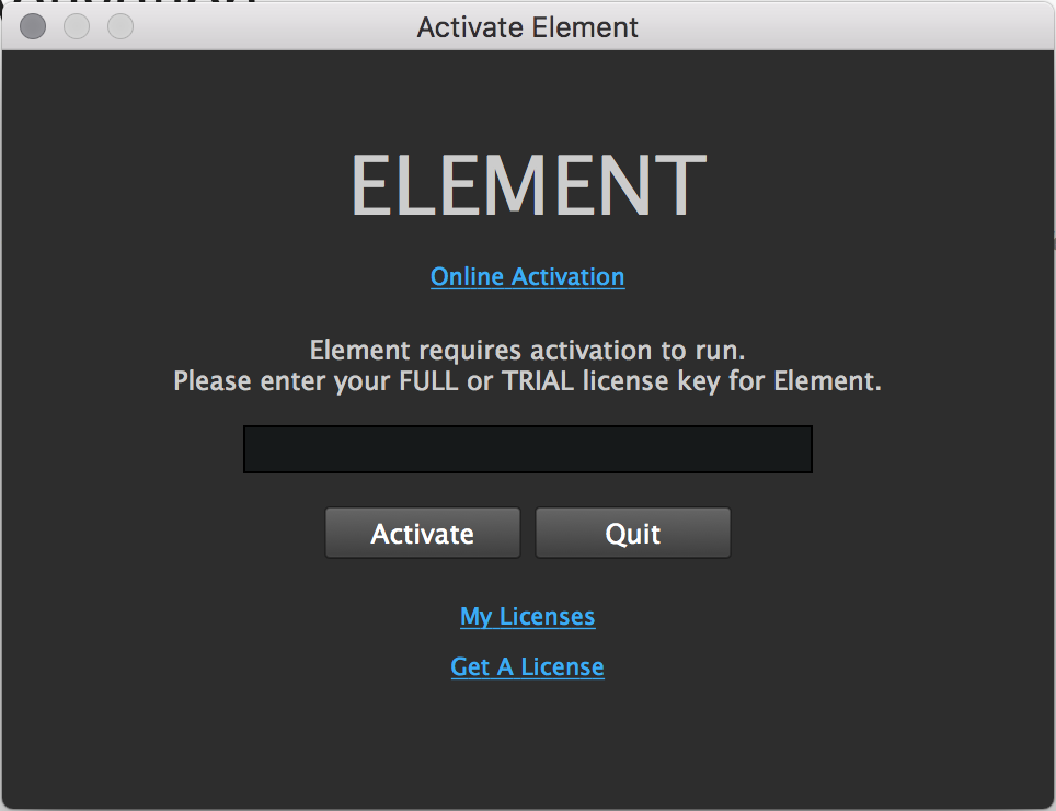 Element Activation Dialog