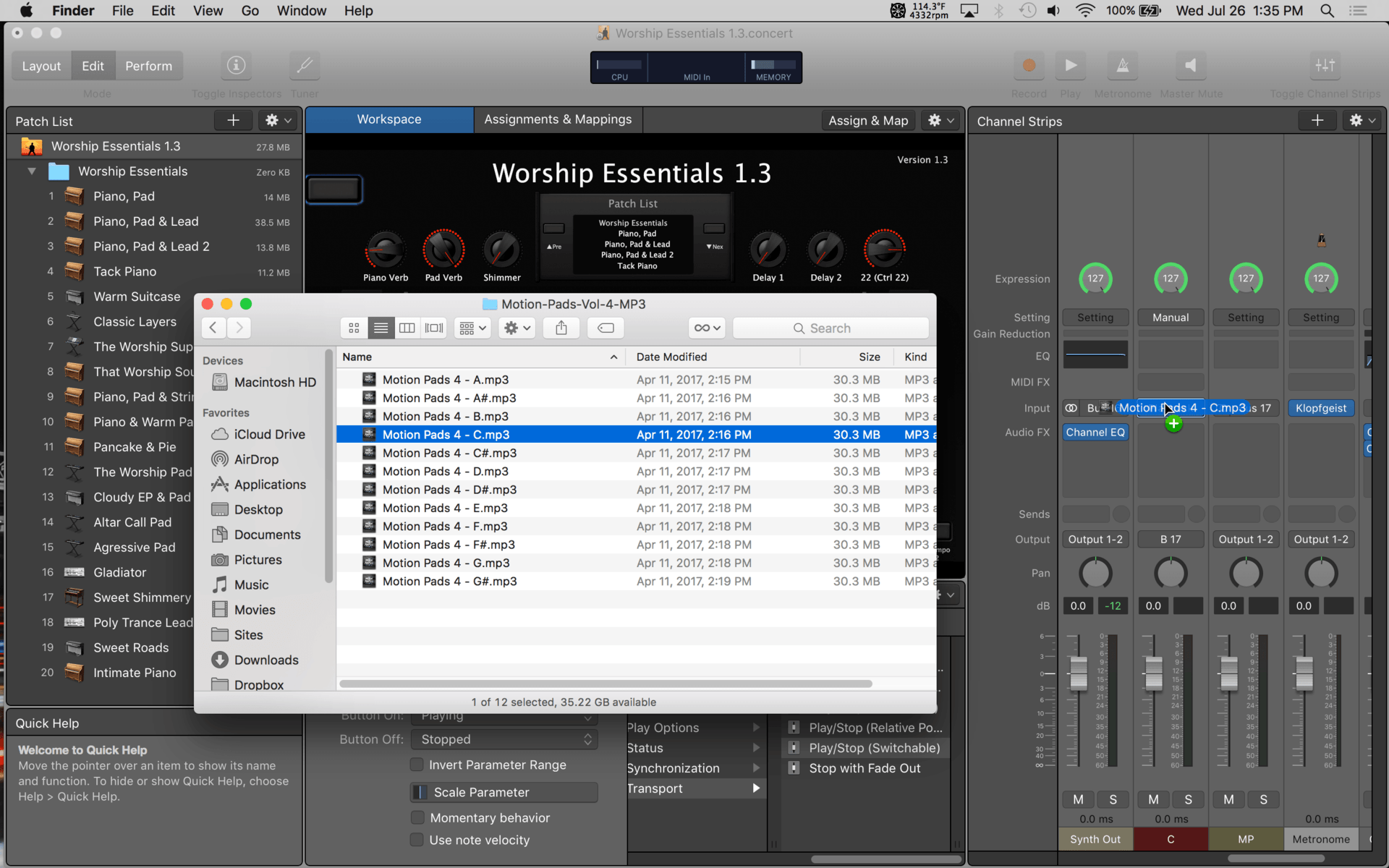 How To Add Ambient Pad Audio Files to MainStage 3 - That Worship