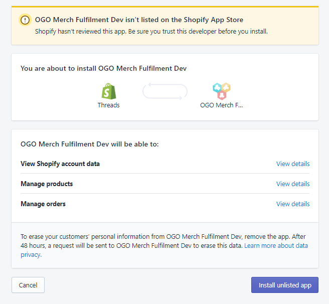 OGO App showing not 'listed on the Shopify App Store' - OGO