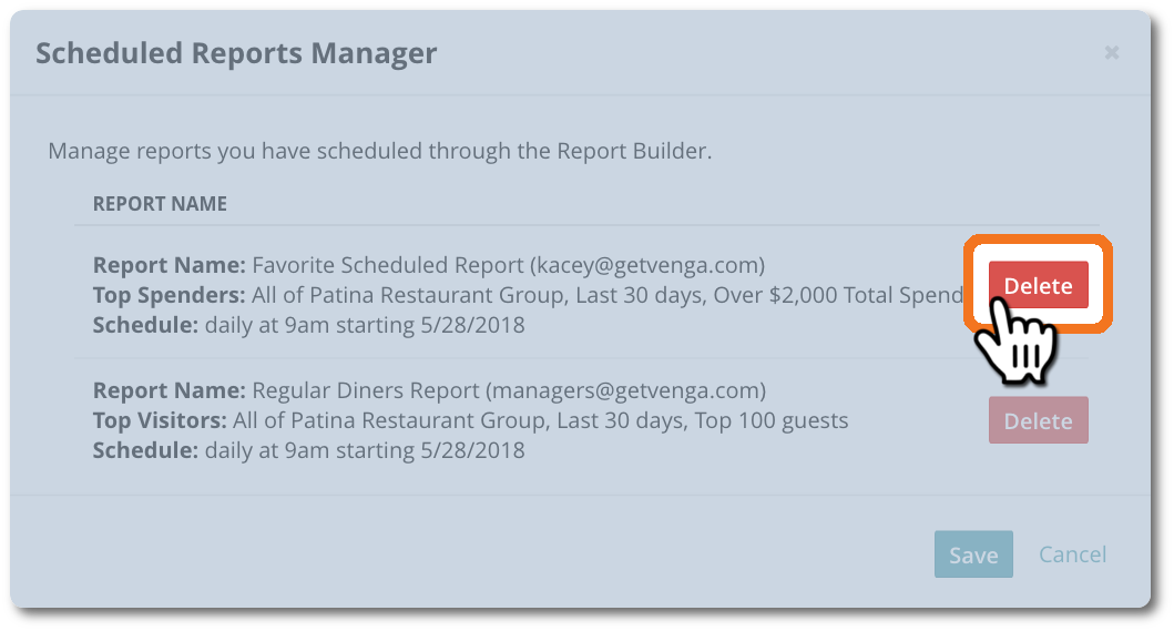 Create Marketing Lists With Report Builder - Venga Dine