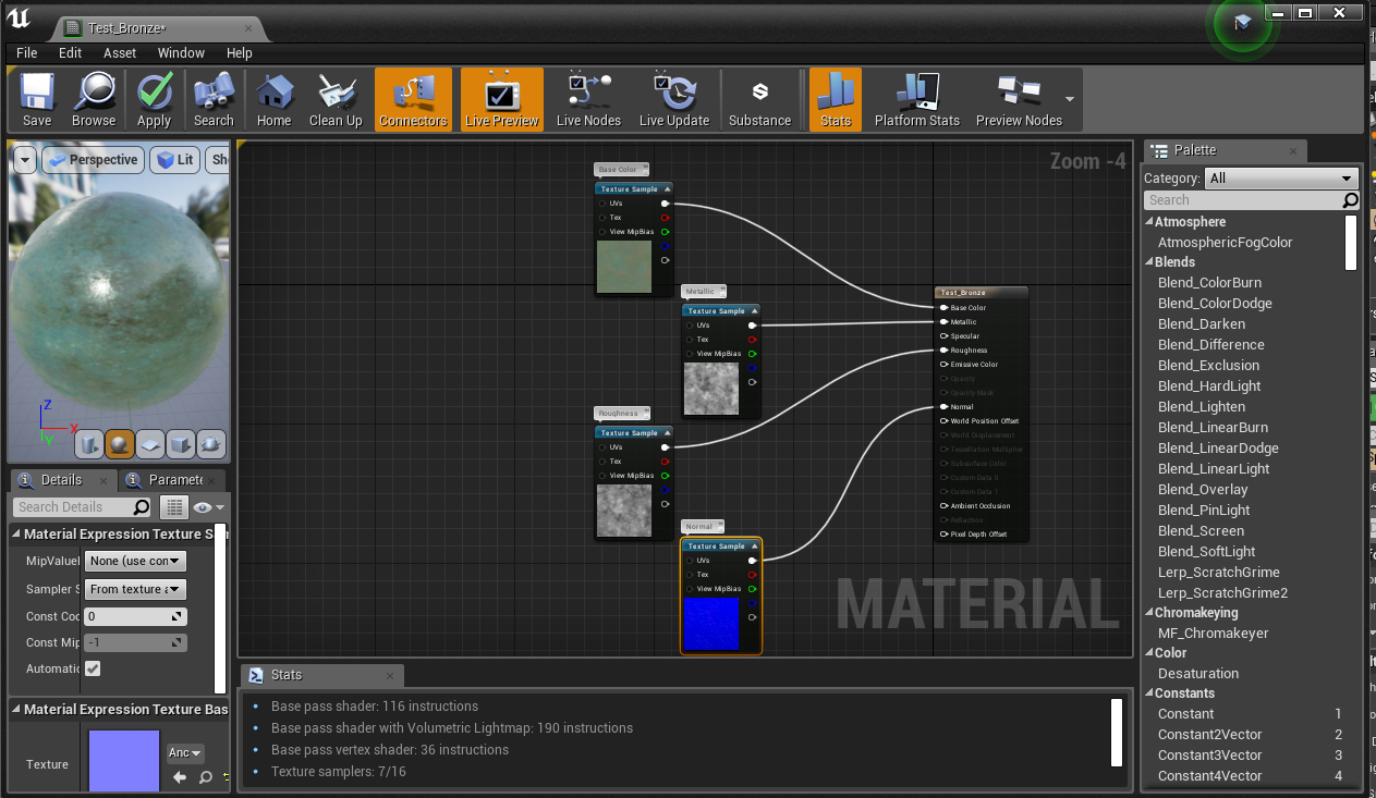 How to Create a Basic Unreal Material with GameTextures com Bitmaps