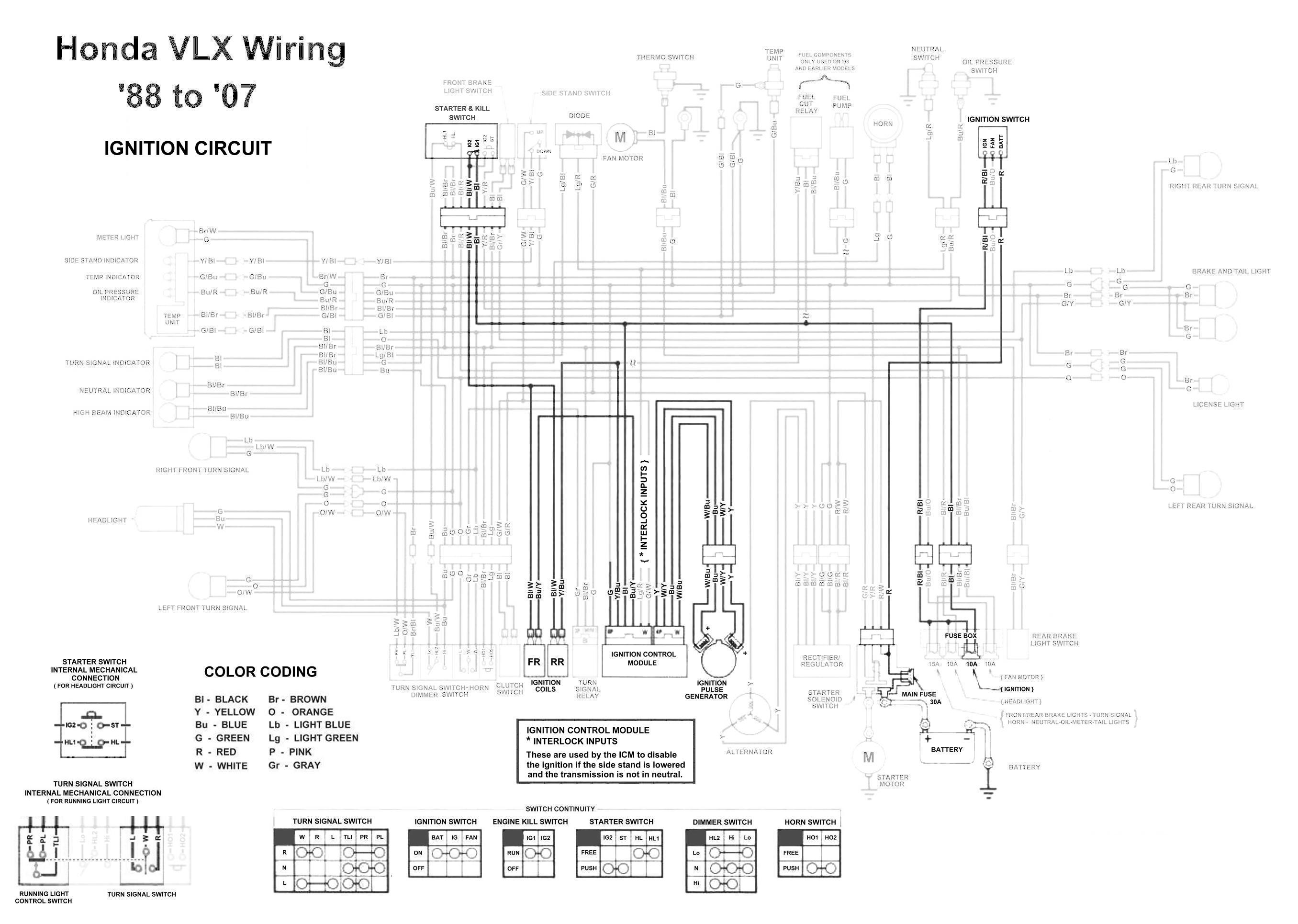 Honda       Shadow    VT600    VLX       600    Ignition Circuit    Diagram     TJ