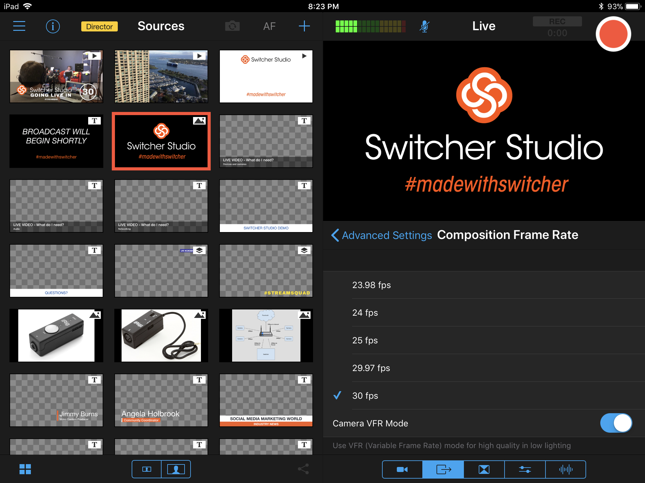 Adjust the Frame Rate in Switcher - Switcher Inc. Knowledge Base