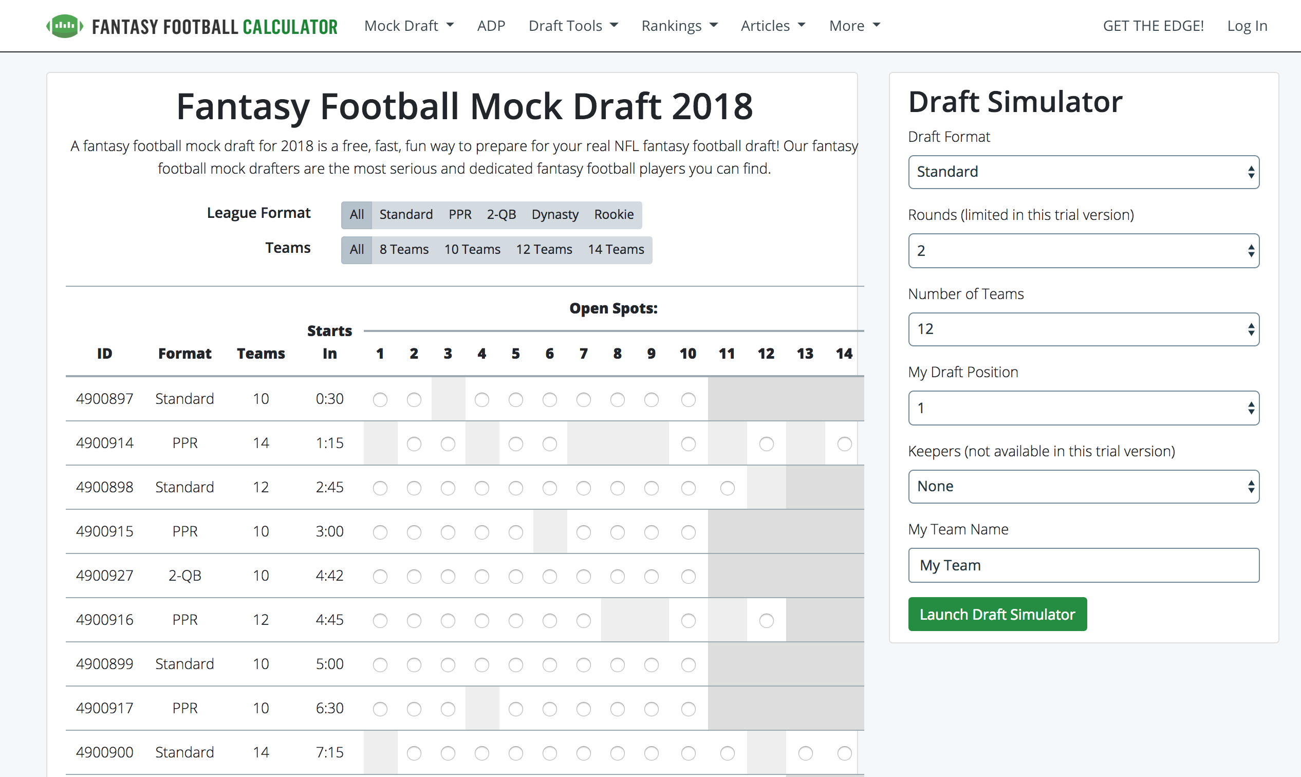 Joining A Public Mock Draft Fantasy Football Calculator Knowledge Base