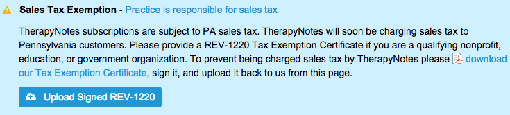 Pa Sales Tax >> Pa Sales Tax Exemption Certificate Therapynotes Help Center