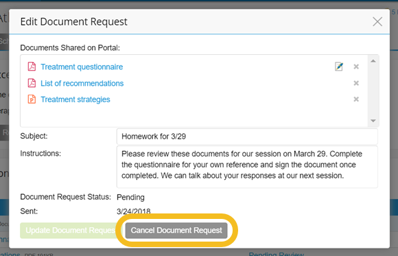 Cancel Document Request
