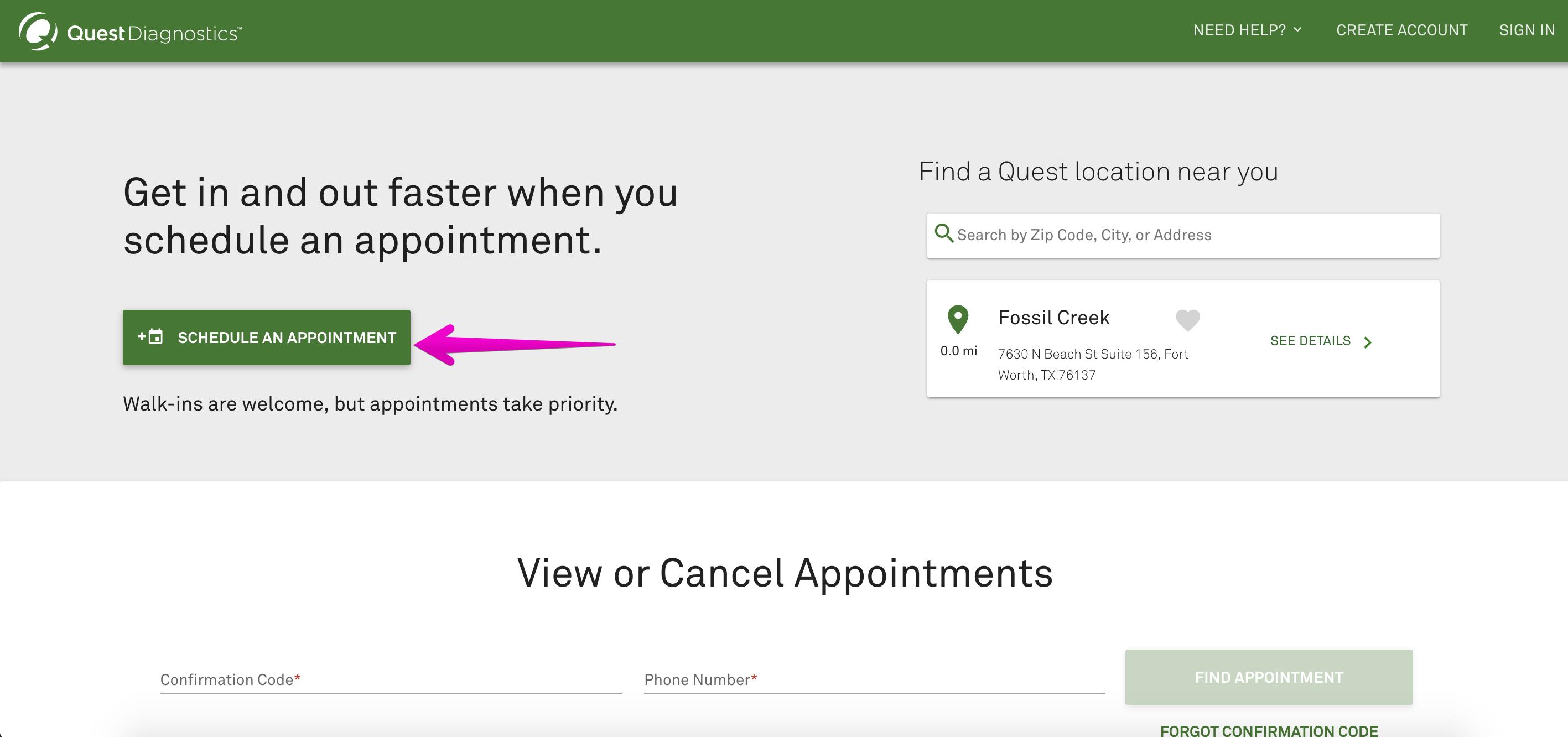 How to arrange an appointment online at Quest Diagnostics