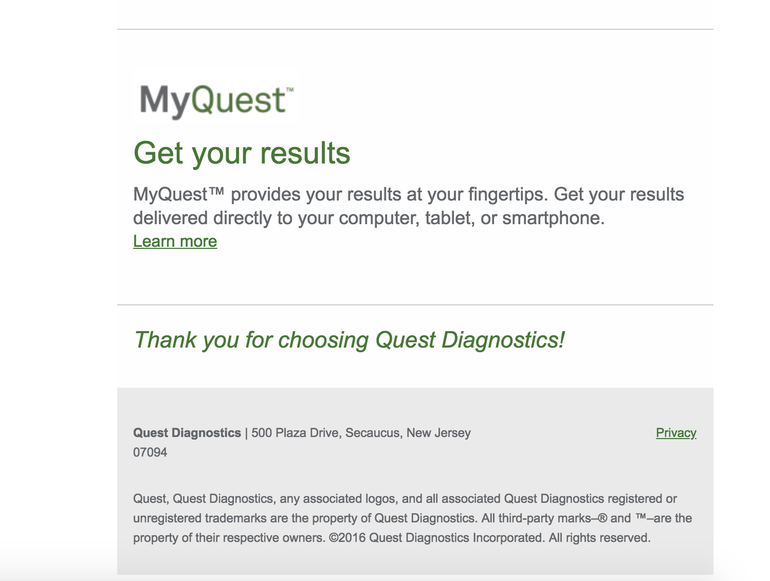 Appointment Email Confirmation From Quest Lab Testing Api Faqs
