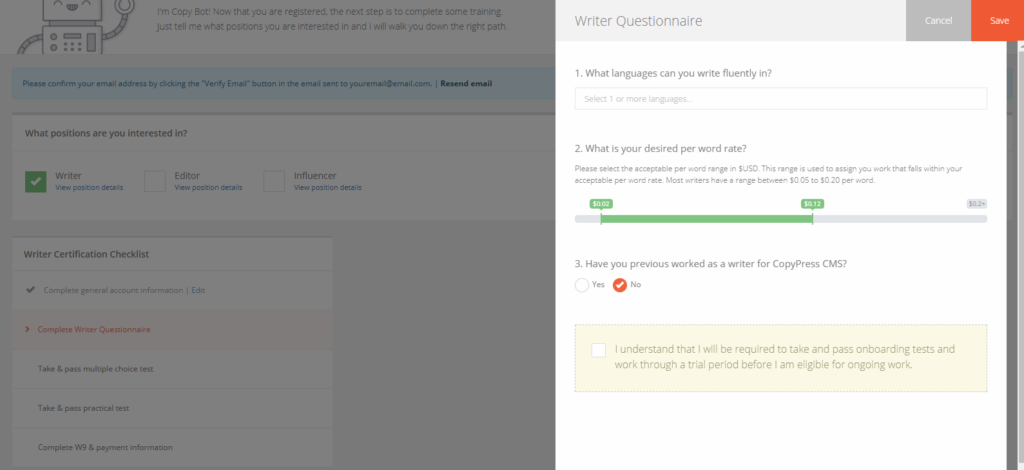 Understanding the Writer Onboarding - CopyPress Help Center