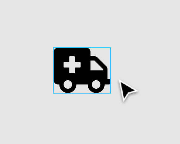 Image showing an ambulance icon from Font Awesome in the Figma canvas