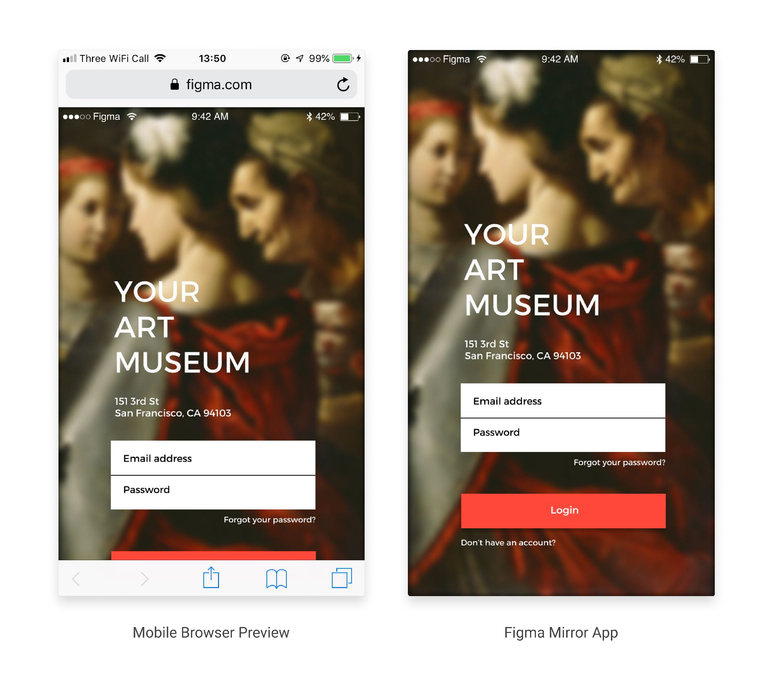 Image comparing a mobile browser preview and the preview in the Figma Mirror app