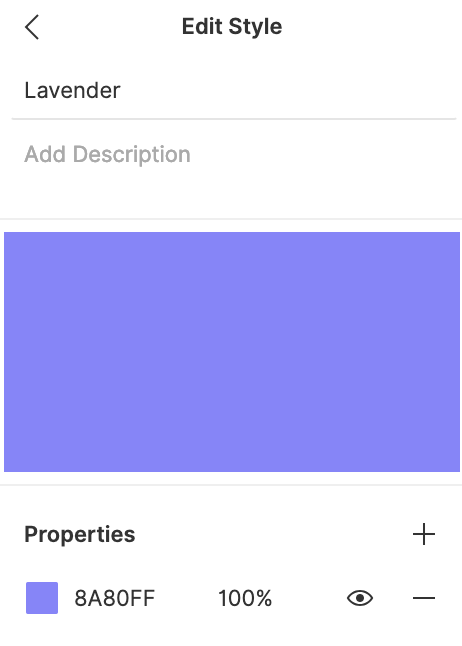 Edit color Style properties modal
