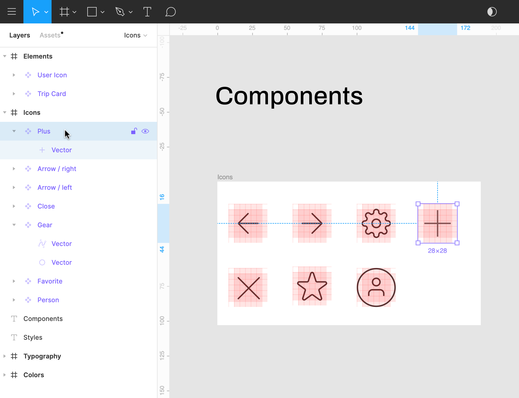 View of components nested within a layer in the Layers Panel