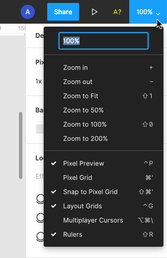 Image of the View Settings menu in the top right corner of the Editor