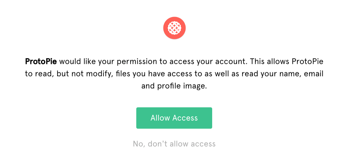 Image showing the allow access screen in Figma. Click the green Allow access button.
