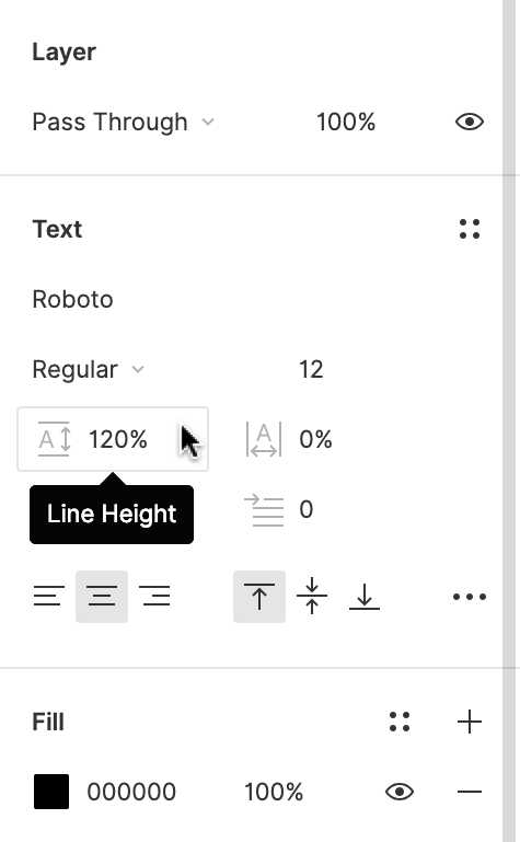 Image Caption: You can access Line height in the Text Section of the Properties Panel. You can find this below the Font settings.