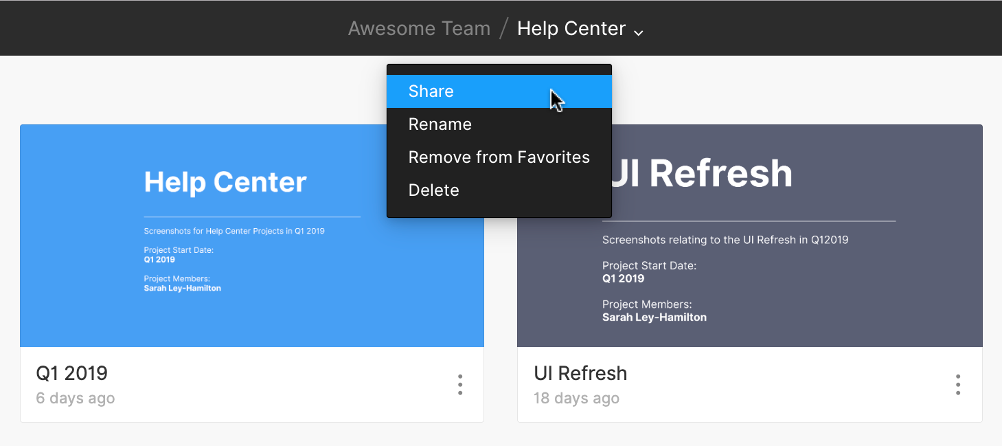 Sharing Projects - Figma