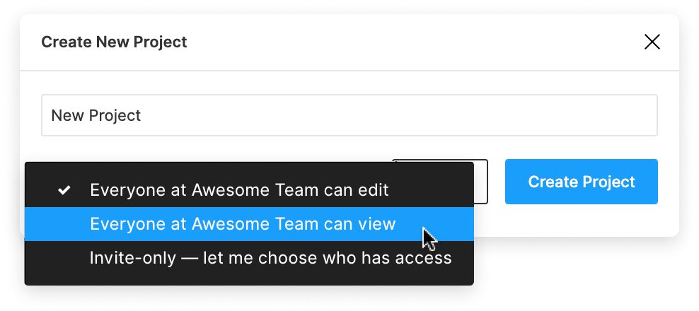 Image of the create new project modal highlighting the permission settings
