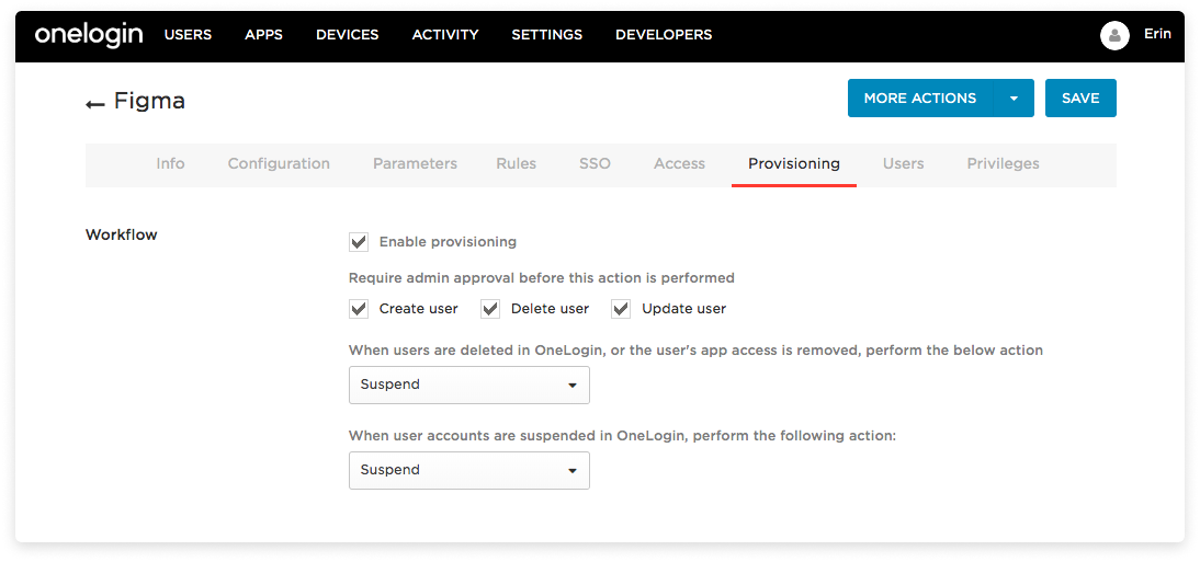 The provisioning tab in the Figma app with the above settings in place and suspend chosen for the appropriate action