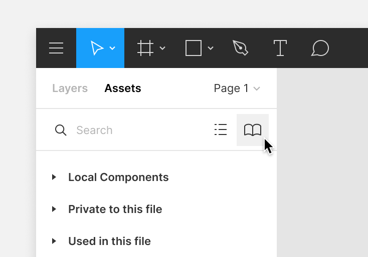 Library icon in the Assets tab of the left sidebar