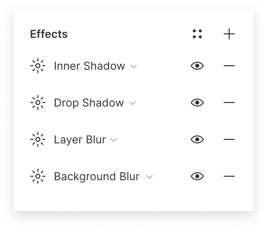 Image showing the Effects section of the properties panel with four effects applied