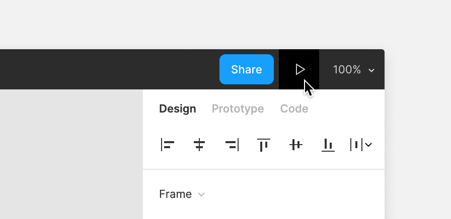 Image showing the location of the Present icon in the top-right corner of the Figma UI