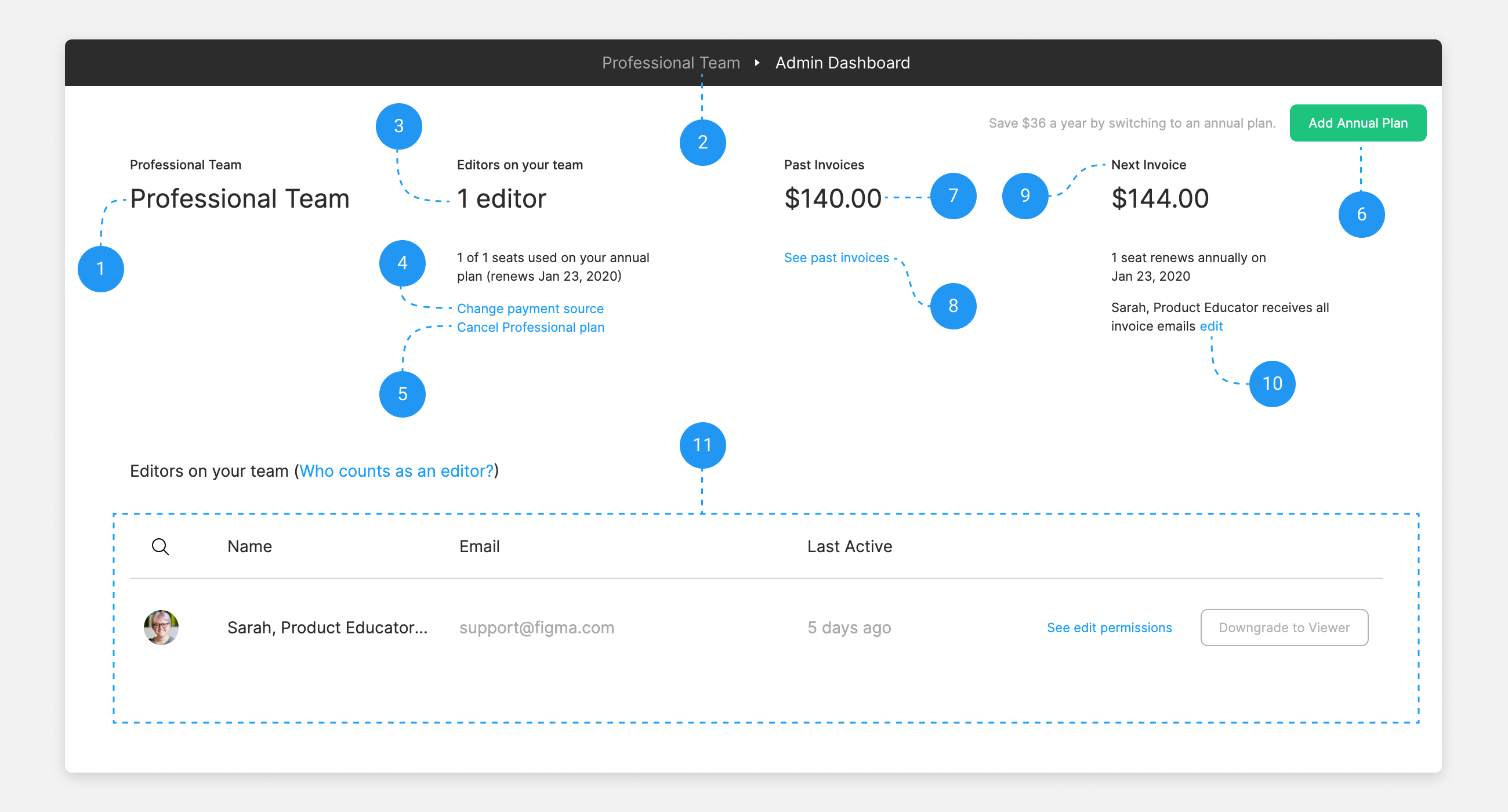 The Admin Dashboard for a team on the Professional plan