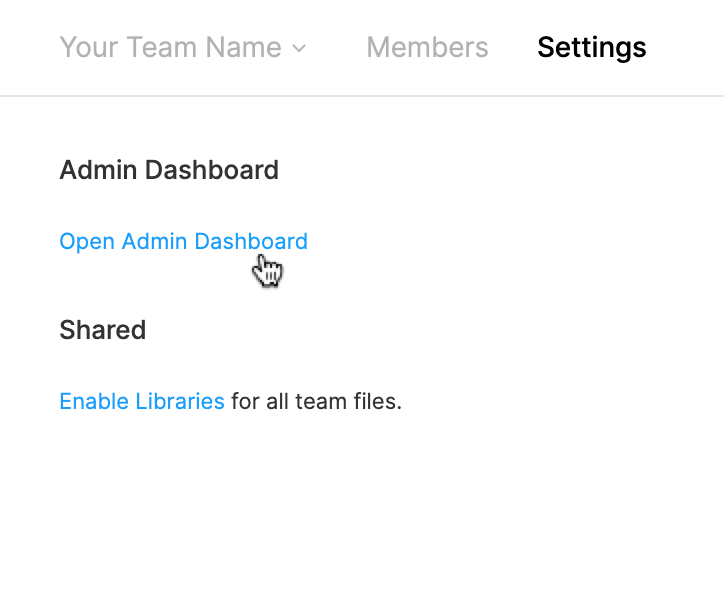 The Open Admin Dashboard link on the Settings page