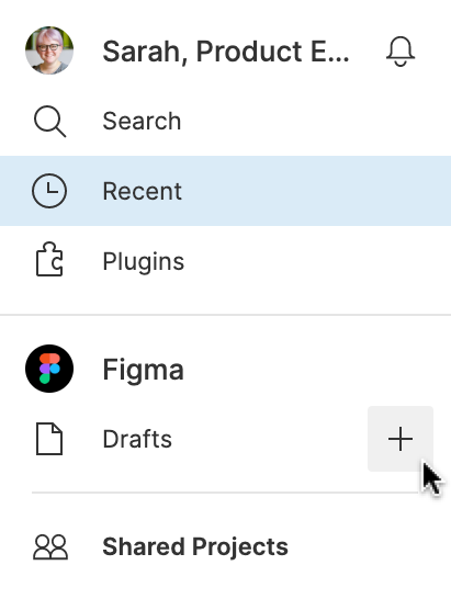 The top of the left sidebar of the file browser which shows Drafts and a plus sign to the right.