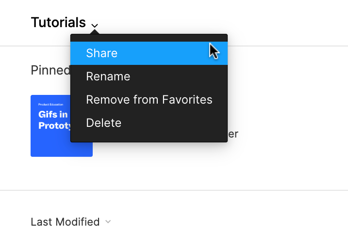 Image showing the drop down menu under the project name with share selected