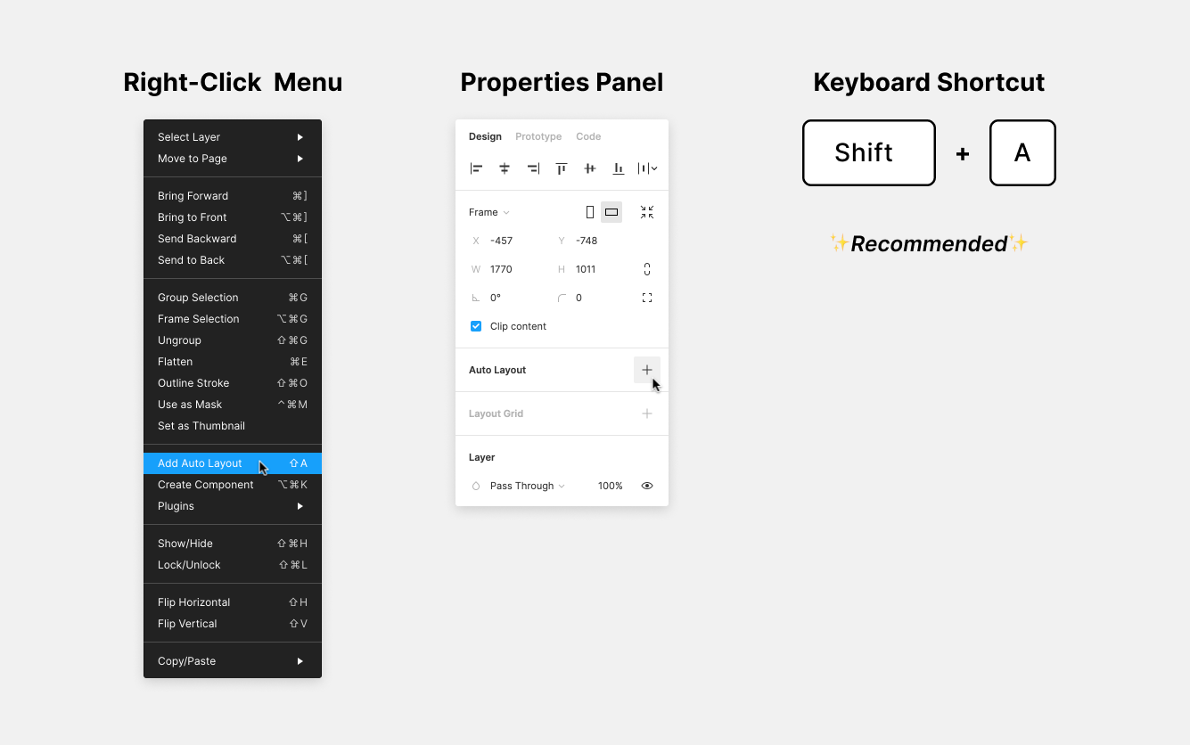 Image showing the three ways to add auto layout: the content menu, properties panel, and the keyboard shortcut