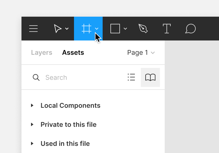 Image showing the location of the frame tool as the third option in the Figma toolbar