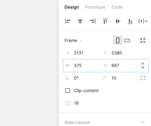 Image of the top-right corner of the Design tab in the right sidebar. The width and height fields have a blue dashed rectangle around them