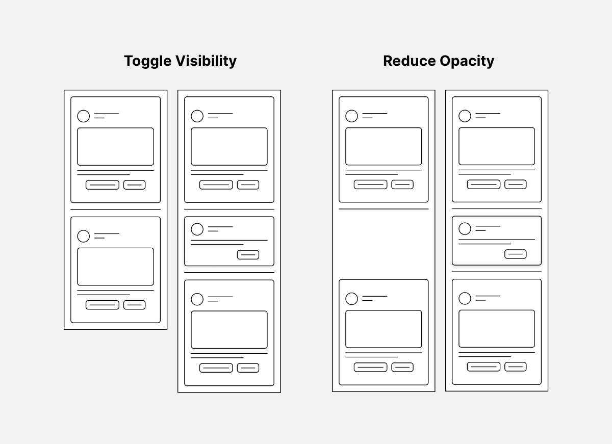 Image showing how an auto layout responds to toggling visibility and opacity. In the second design a space is created by an object with zero percent opacity