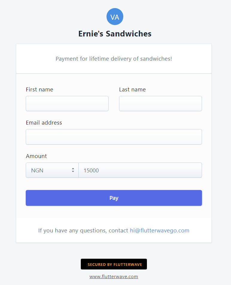 An example payment page