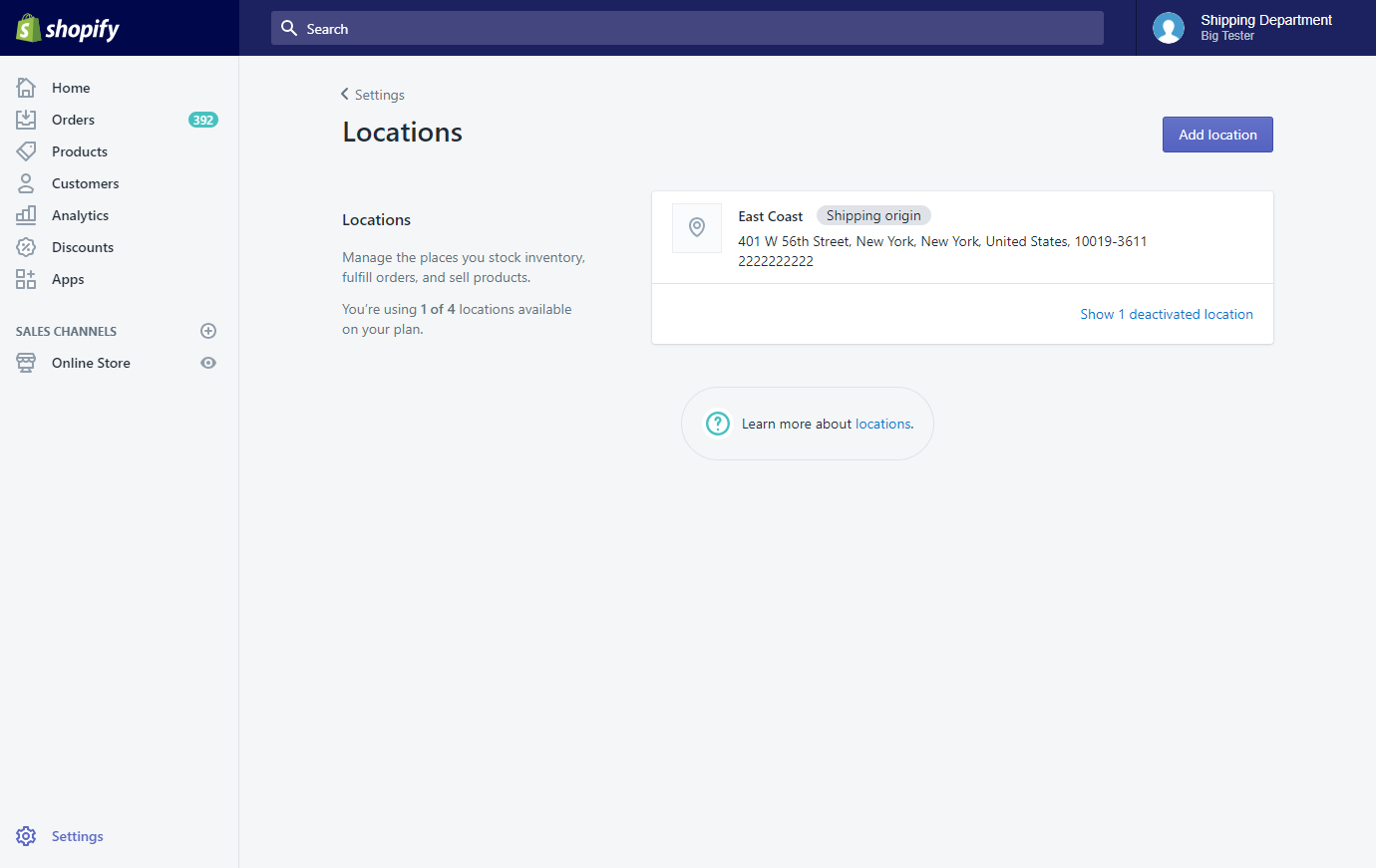 Shopify] Can I use multiple locations? - Knowledge Base