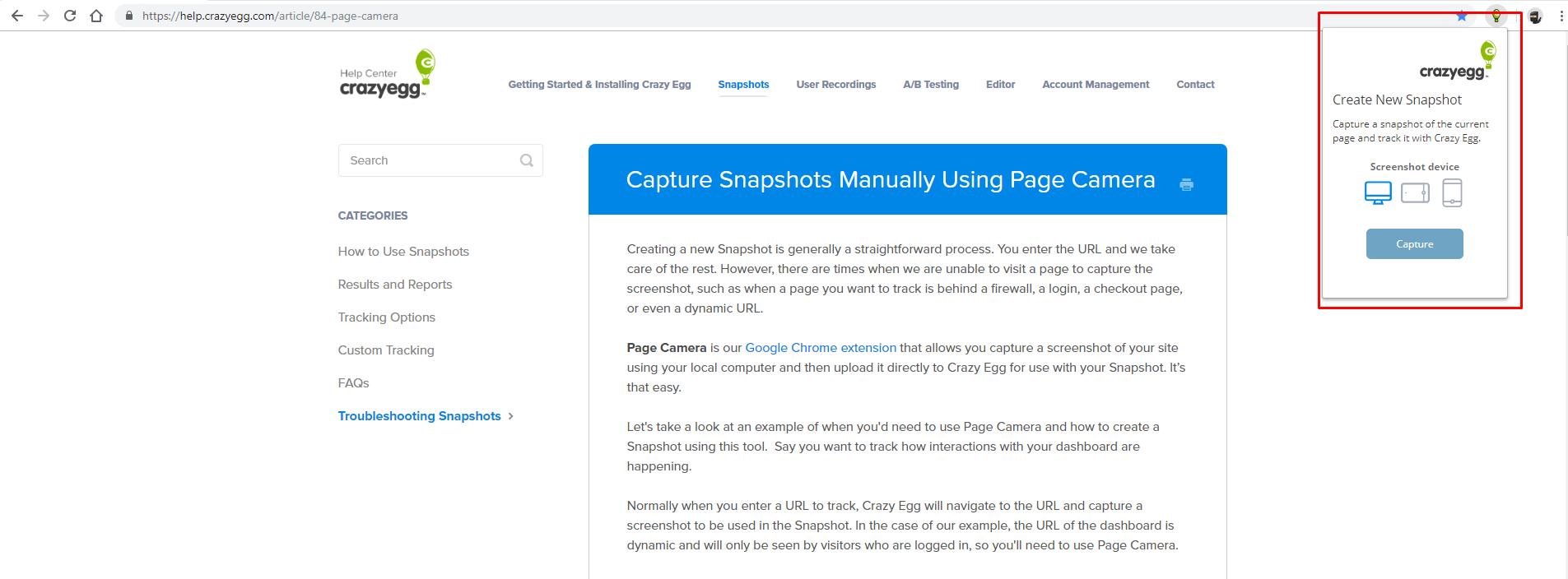 Capture Snapshots Manually Using Page Camera - Crazy Egg