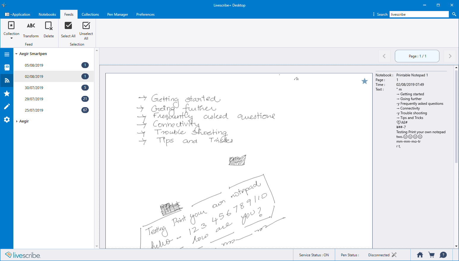Livescribe+ Collections View