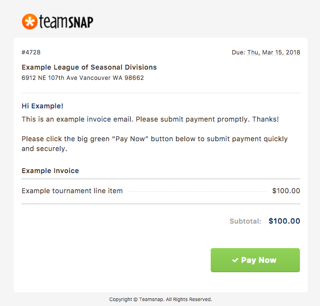 submit an invoice payment the teamsnap playbook