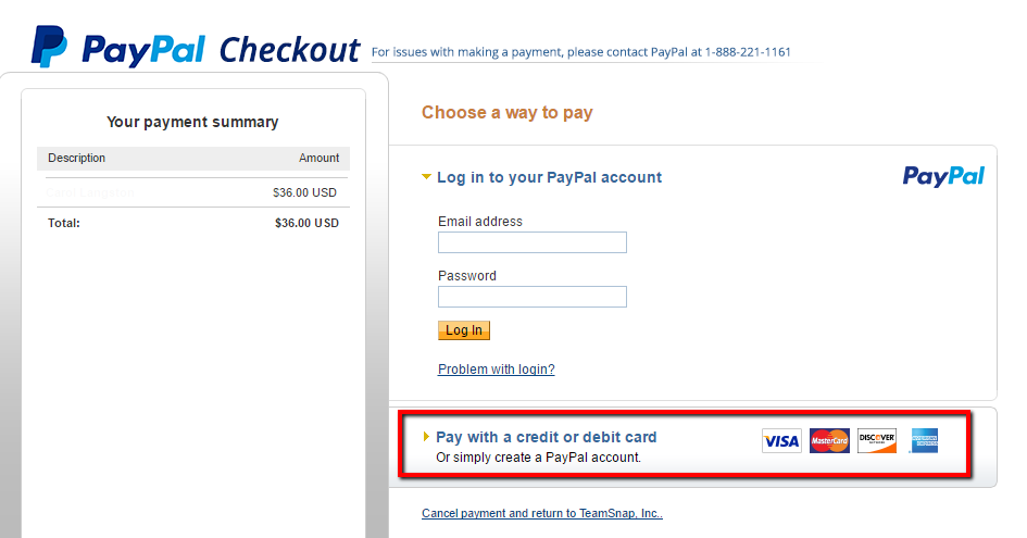 Once You Have Set Up Your PayPal Account Connection Players Will The Option To Pay Online With Either Their Or By Credit